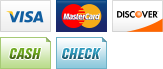 We accept Visa, MasterCard, Discover, Cash, and Checks